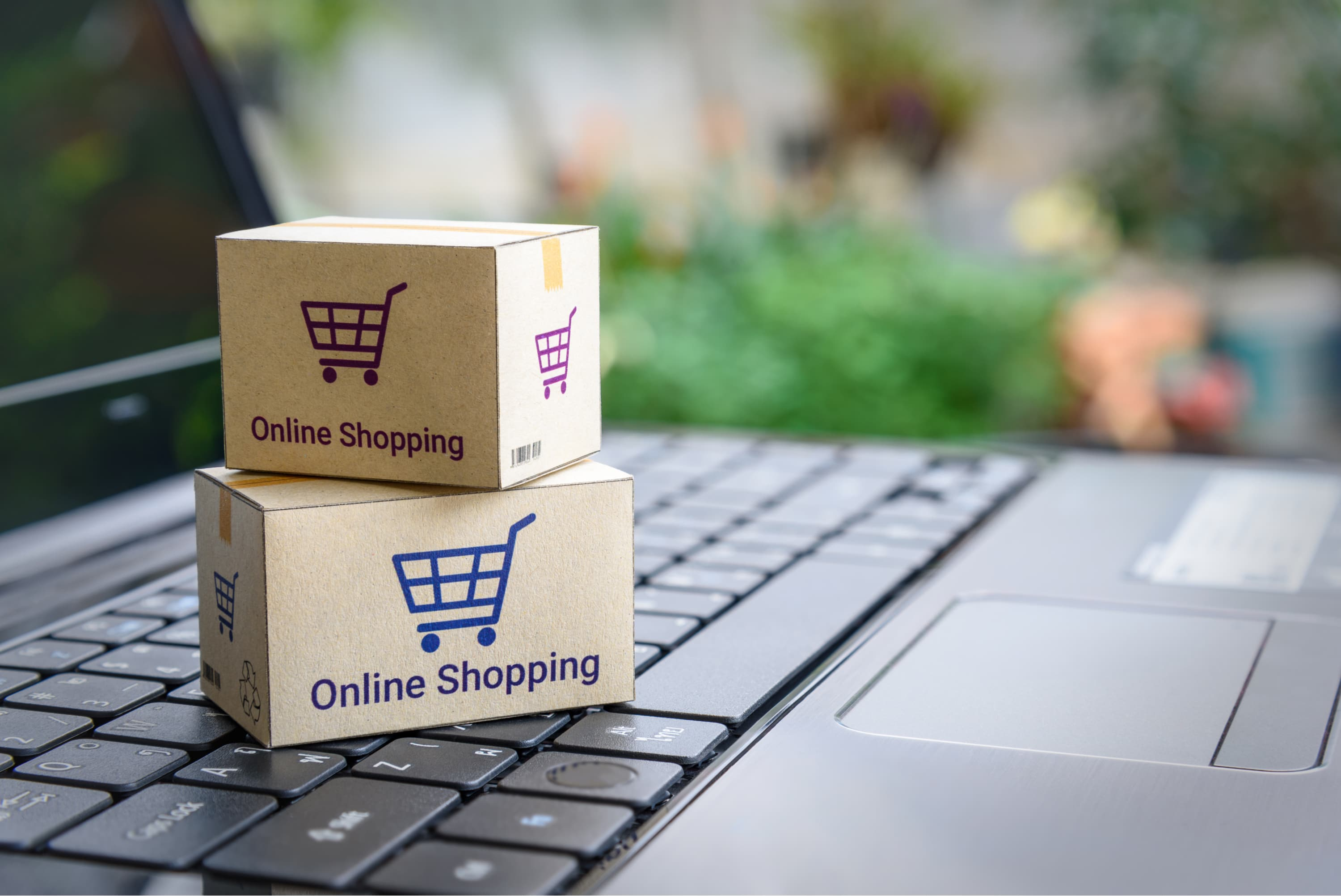 A laptop and items bough while shopping online