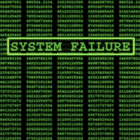 Wall of code with System Failure highlighted