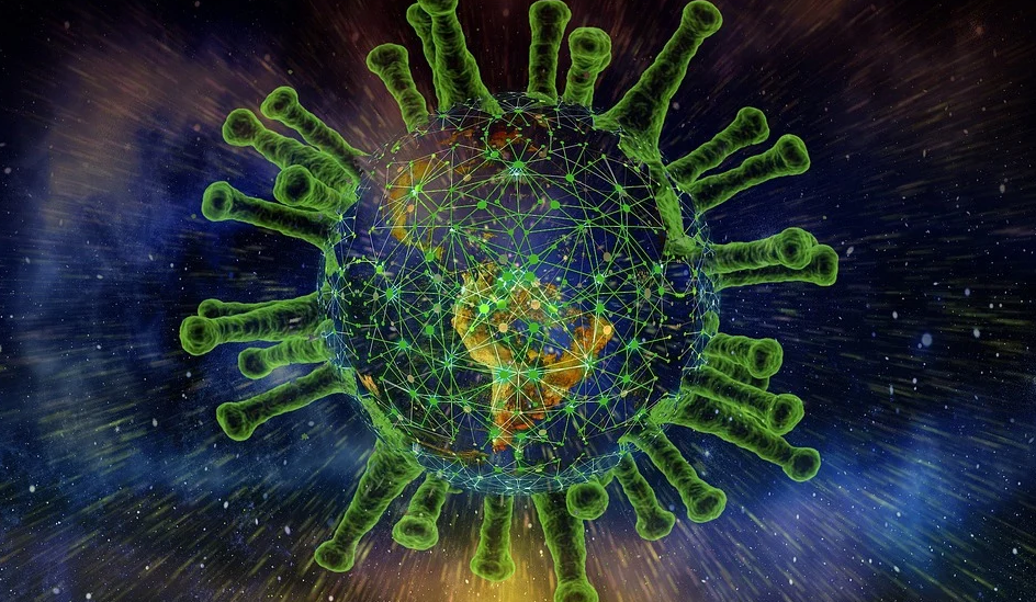 Earth enclosed within the COVID-19 virus.